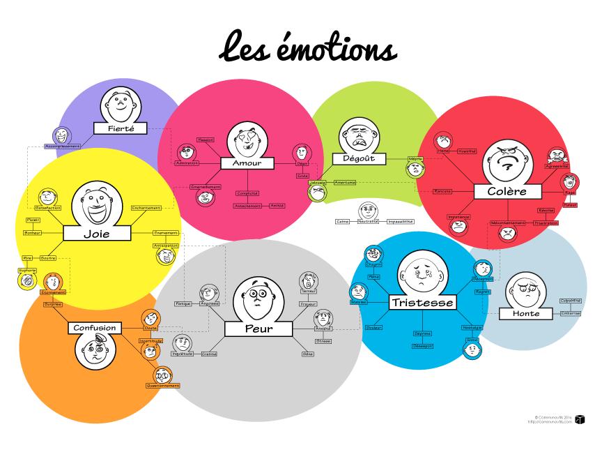 Développement personnel : Gestion des émotions : schéma avec description des émotions, joie, confusion, fierté,peur,amour, dégoût, tristesse, honte, colère