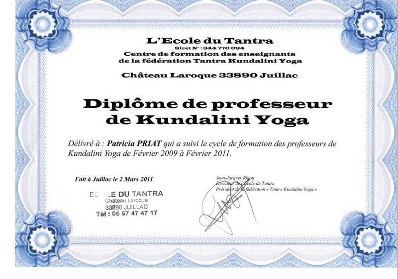 Diplôme de professeur de Yoga de l'école du Tantra
